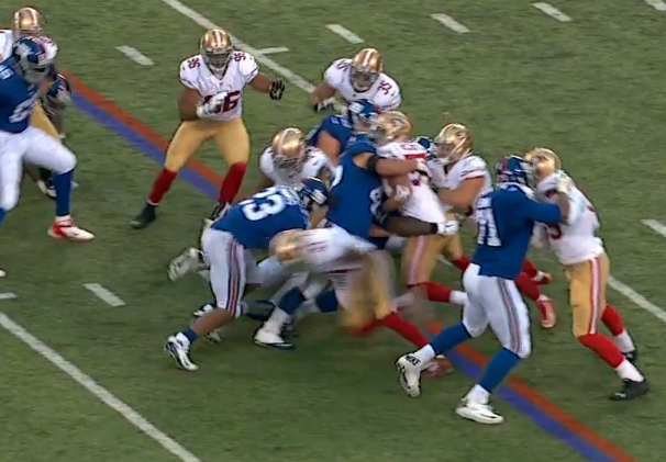 Simply too much penetration by safety and defensive lineman