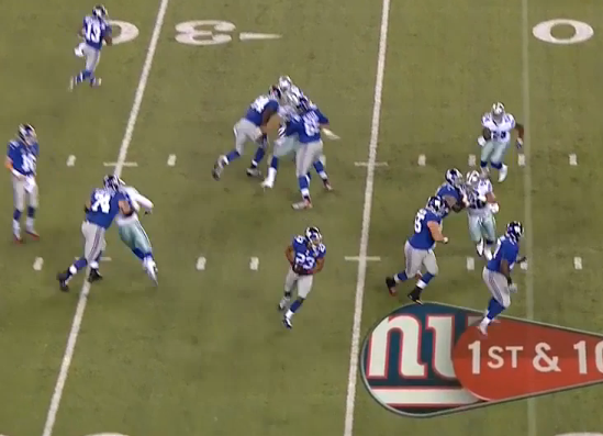 ...instead Eli dumps ball off to Rashad Jennings on well-orchestrated screen pass