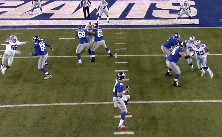 Pass protection was strong early, as on this TD pass to Beckham