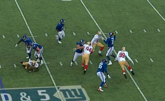Pocket collapses again on Eli on 4th interception