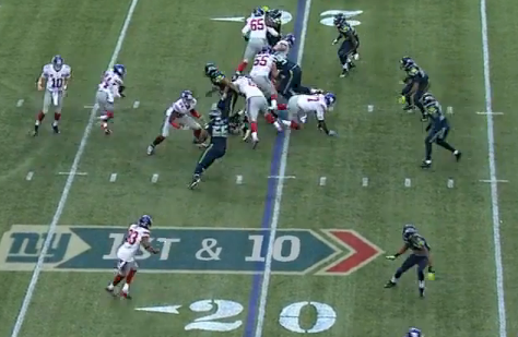 Defensive end blows by Jerry and Pugh to hit Williams in backfield