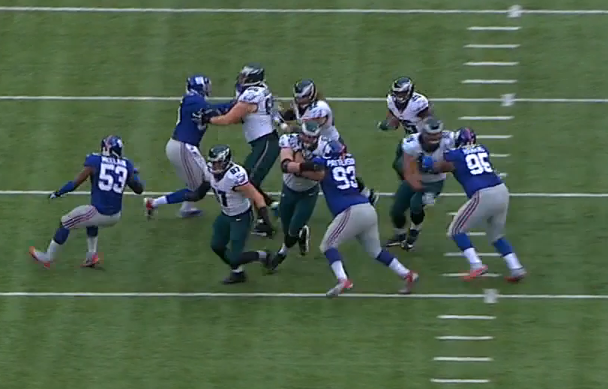 JPP, Patterson, and Hankins blocked; McClain overruns the play.