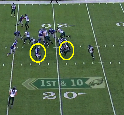 Rolle has McCoy 1-on-1 but lets him get away on 11-yard run.