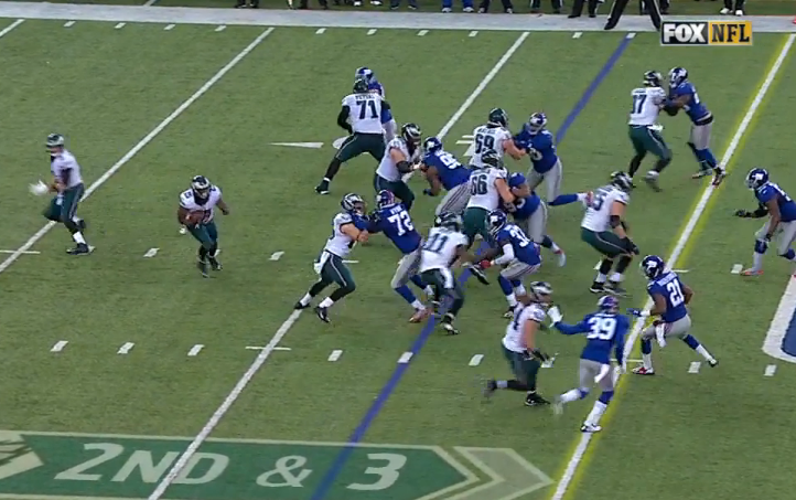 No one outside to stop McCoy on 21-yard gain.