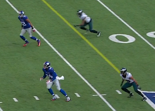 Eli missed some opportunities like on this incomplete play.