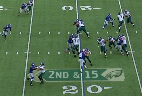 Moore and Hankins blocked and no one else there to stop McCoy.