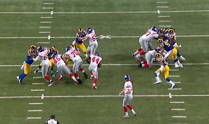 A huge hole right up the middle against the vaunted  Rams defensive front, leading to a 45-yard gain.