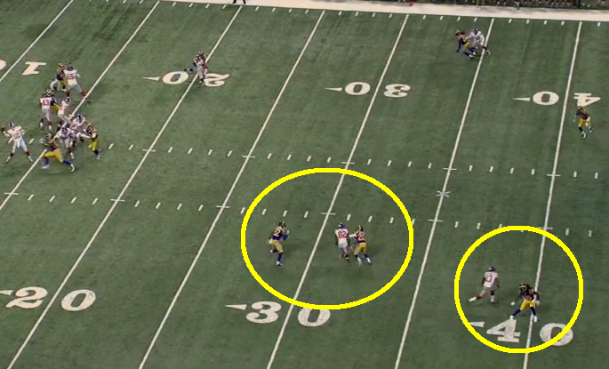 Randle draws the double team on crossing route as Beckham's fake to the outside creates separation on the 80-yard TD.
