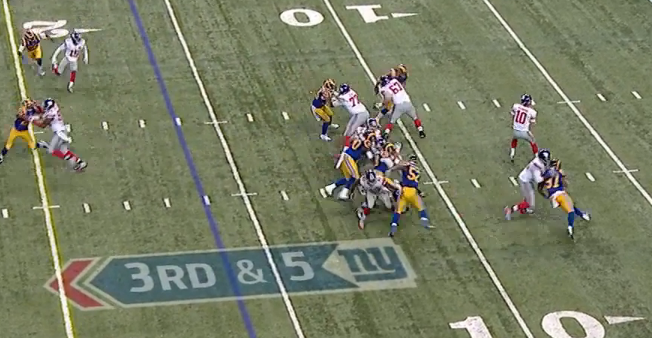 Note the pocket again on the 3rd-and-4 play that picked up 29 yards to Beckham.