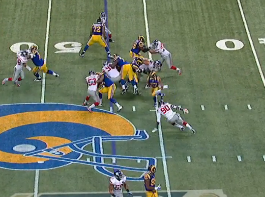 Huge hole for Tre Mason as McClain is blocked and JPP is caught too far upfield.