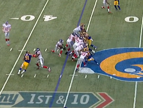 This run only picks up six yards, but note no penetration by defense.