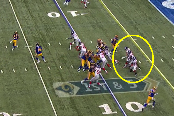 Note how Herzlich, McClain, and Brown are all bunched together on pitch play to left that scored.