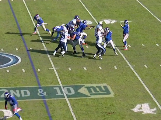 ...then John Jerry gets beat inside, causing rushed throw.