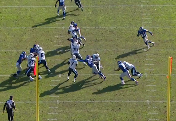 Pierre-Paul had initial contact on fumble play returned for TD.