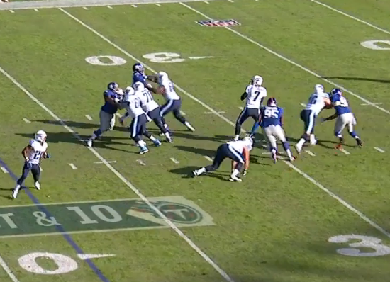 Hankins beats LG to hit QB, causing an incomplete pass.