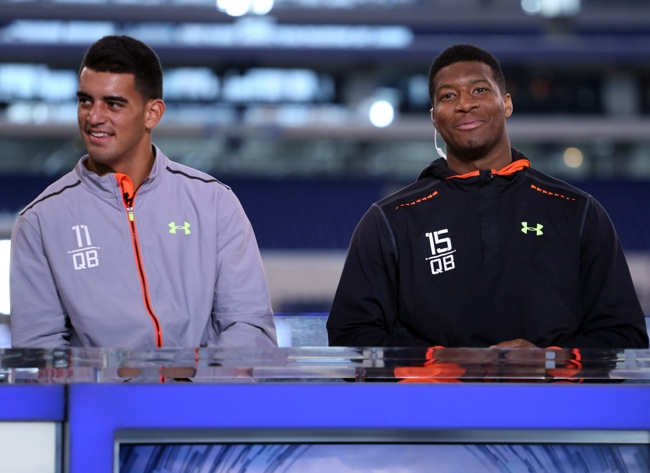 Marcus Mariota and Jameis Winston, NFL Combine (February 21, 2015)