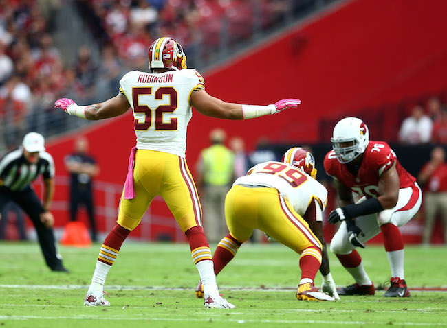 Keenan Robinson, Washington Redskins (October 12, 2014)