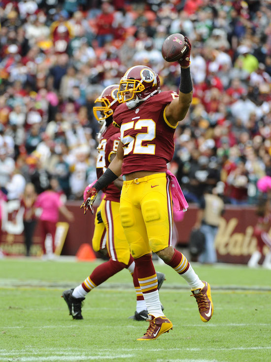 Keenan Robinson, Washington Redskins (October 4, 2015)