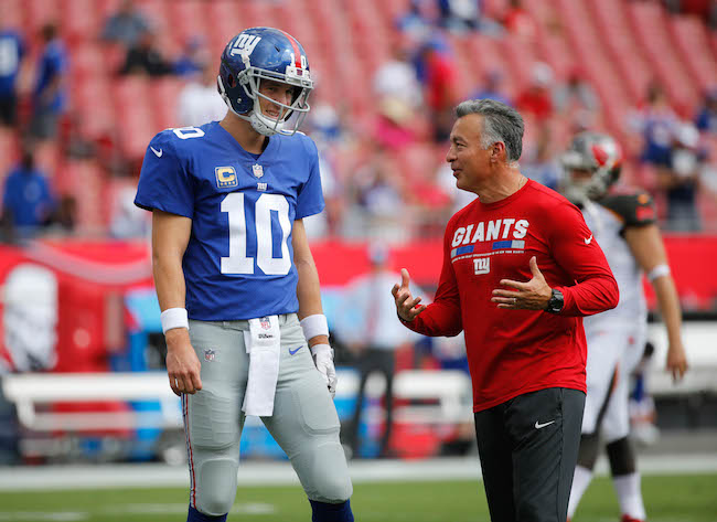 Eli Manning and Mike Sullivan, New York Giants (October 1, 2017)