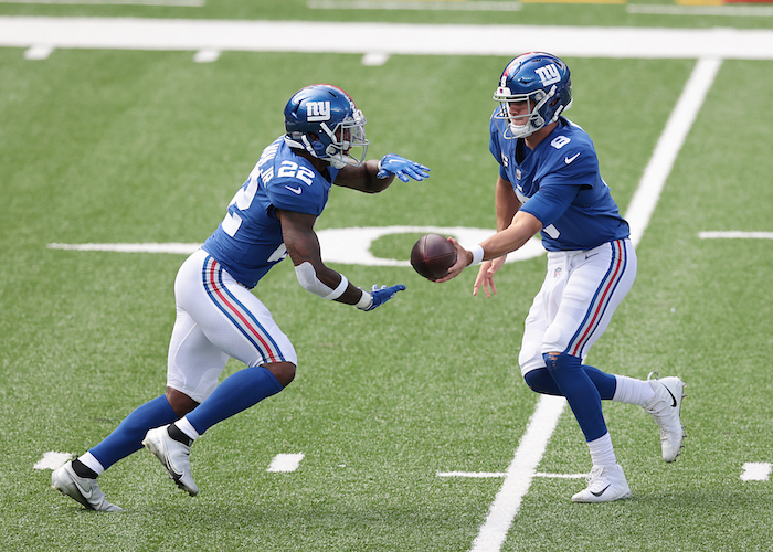 Wayne Gallman and Daniel Jones, New York Giants (September 27, 2020)
