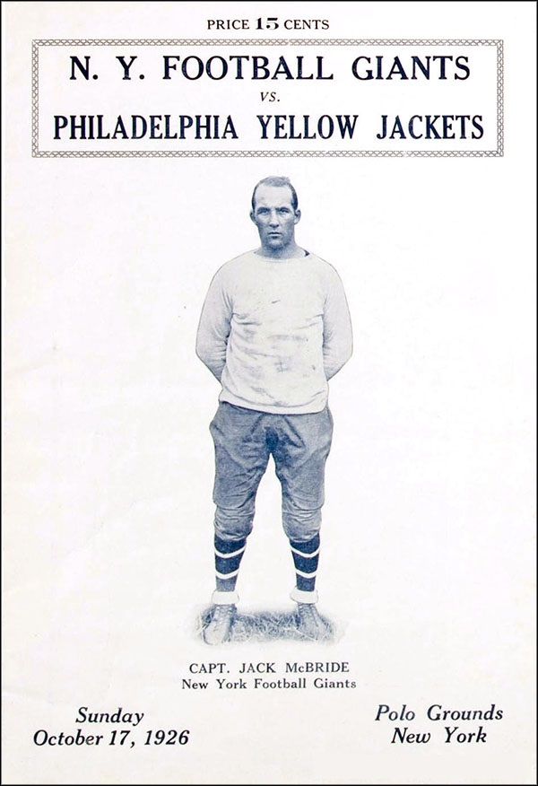 Jack McBride, New York Giants (October 17, 1926)