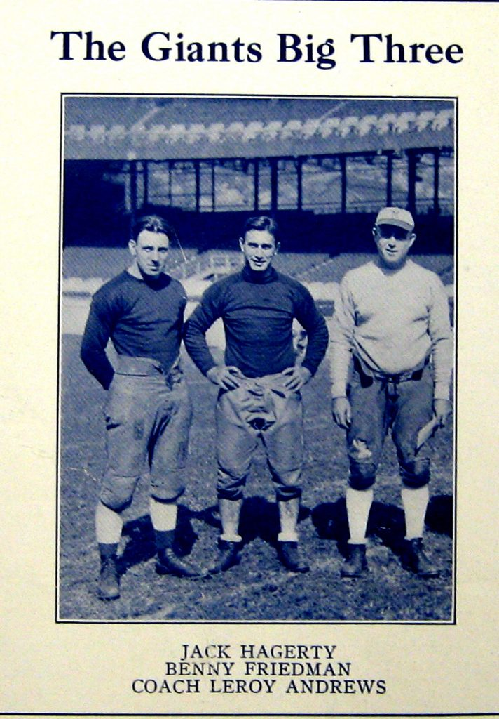Jack Hagerty, Benny Friedman, and LeRoy Andrews; New York Giants (1929)