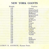 New York Giants Roster (October 20, 1929)