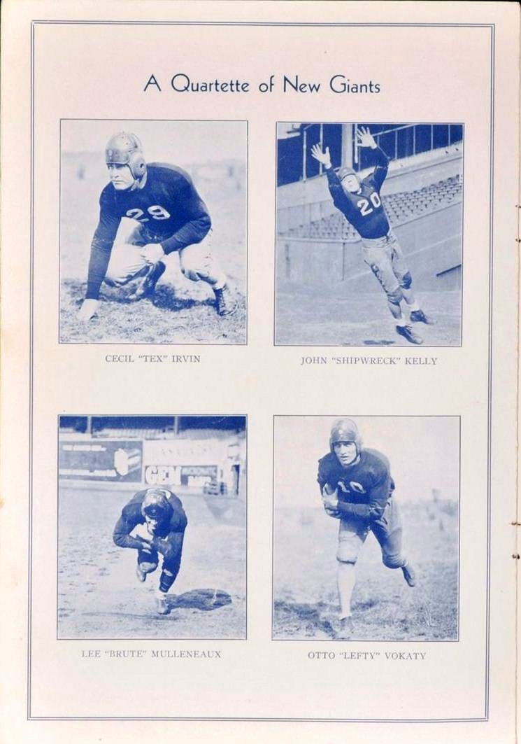 "Cecil Irvin, John ""Shipwreck"" Kelly, Lee Mulleneaux, Otto Vokaty, New York Giants vs. Brooklyn Dodgers Game Program (October 16, 1932)"