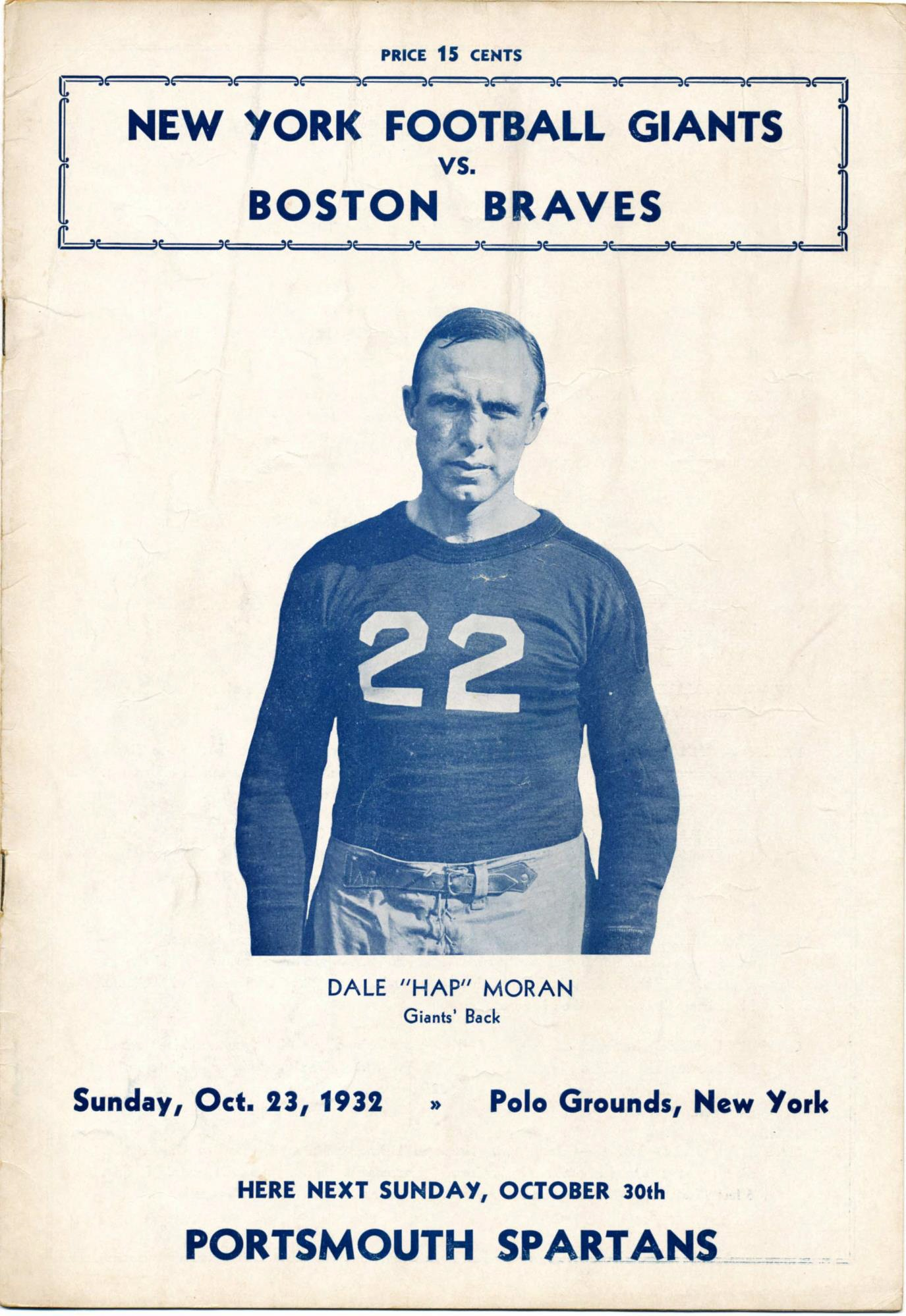 "Dale ""Hap"" Moran, New York Giants Game Program (October 23, 1932)"