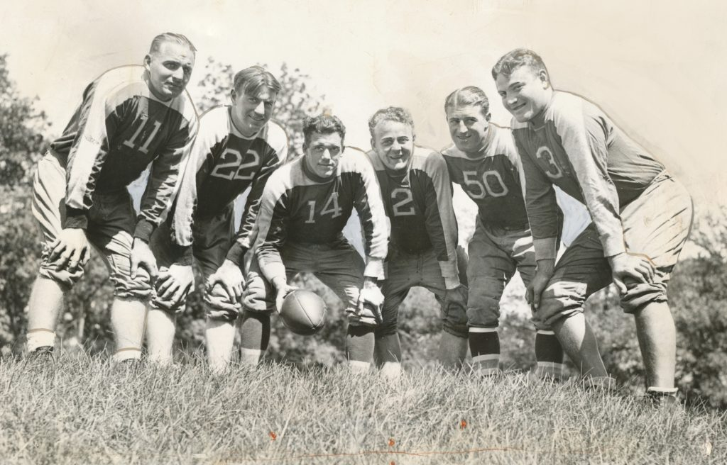 Ed Danowski (22), John Dell Isola (2), Ken Strong (50), Len Grant (3), New York Giants (1935) - Photo Courtesy of Rev. Mike Moran