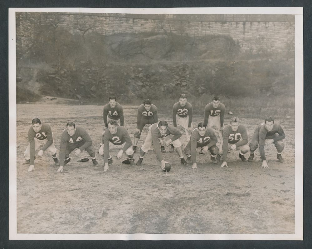 John Dell Isola (2), Mel Hein (7), Ward Cuff (14), Ed Danowski (22), Hank Soar (15), 1938 New York Giants