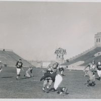 Hank Soar (with ball) and Ward Cuff (14), New York Giants (September 25, 1938)