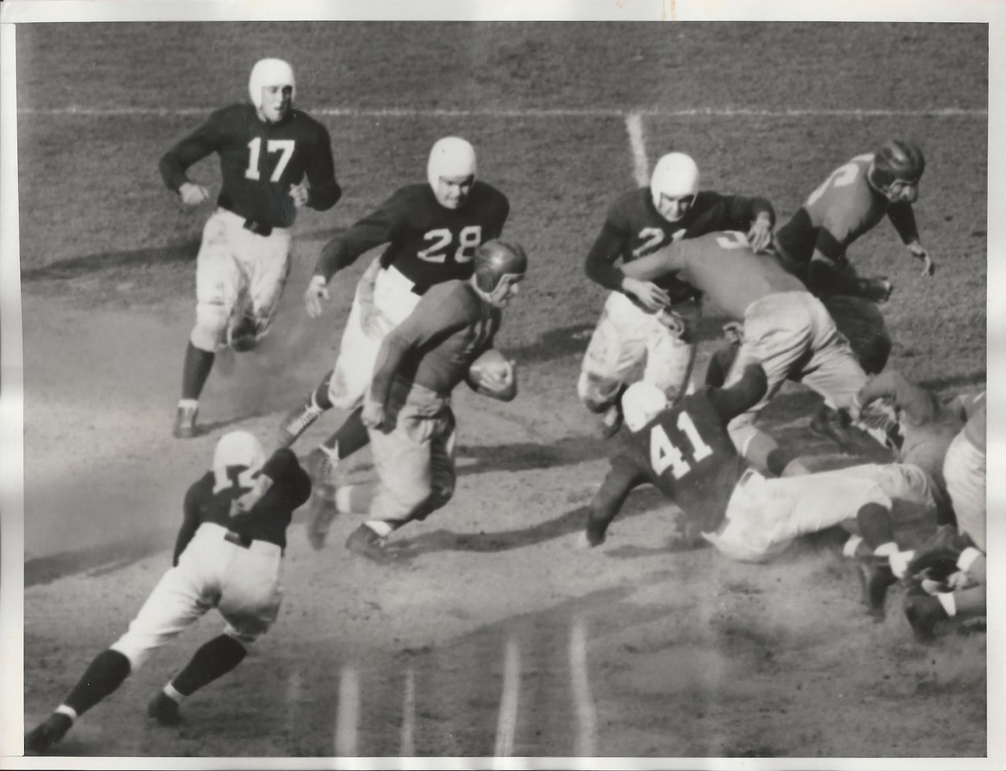 John Karcis (with the ball), Philadelphia Eagles at New York Giants (October 16, 1938)