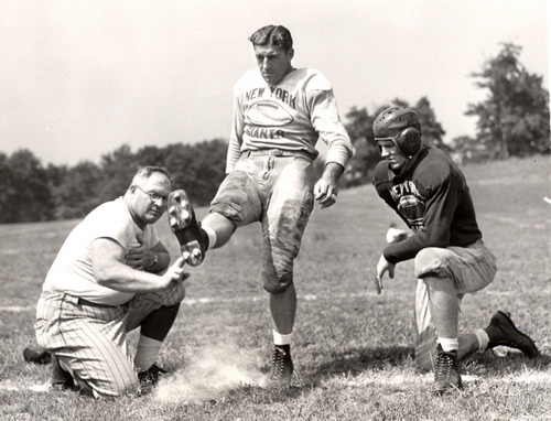 Steve Owen, Ken Strong, and Ward Cuff in 1939