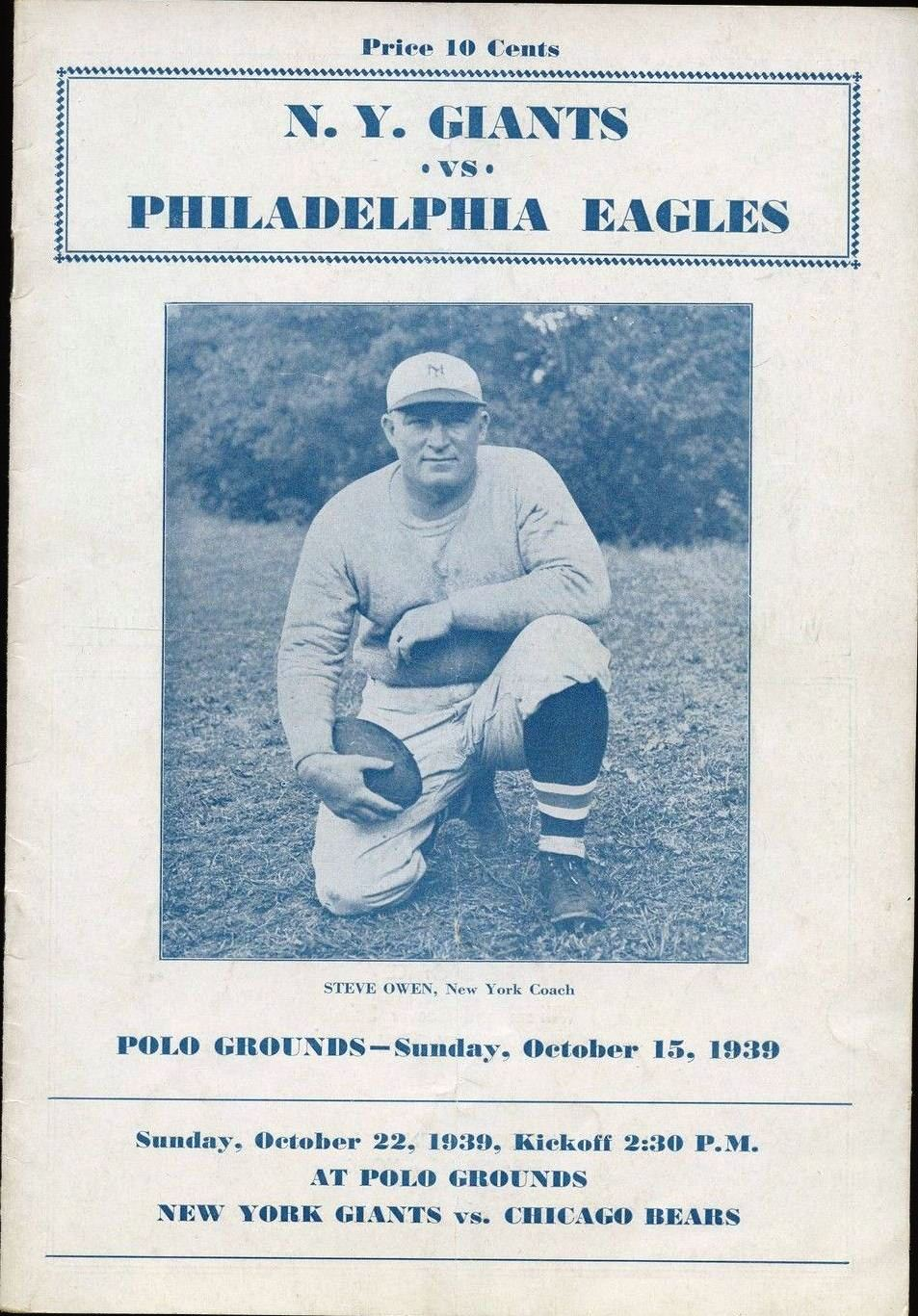 Steve Owen, New York Giants Game Program (October 15, 1939)