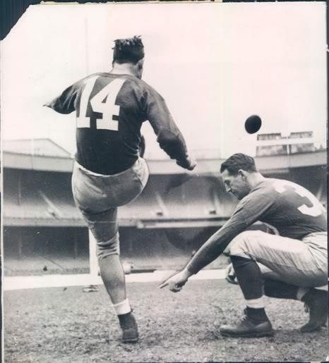 Ward Cuff (14) and Ken Strong, New York Giants (1939)