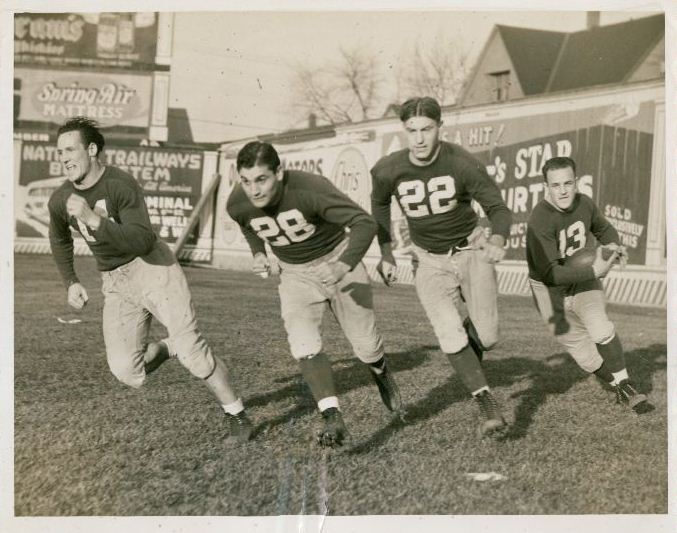 Ward Cuff (14), Nello Falaschi (28), Ed Danowski (22), Kink Richards (13), New York Giants (December 1939)