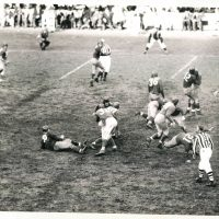 Washington Redskins at New York Giants (December 5, 1943); Al Blozis (#32), Len Younce (#60), Frank Cope (#36)