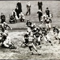Ward Cuff (with the ball), New York Football Giants at Brooklyn Football Dodgers (October 17, 1943)