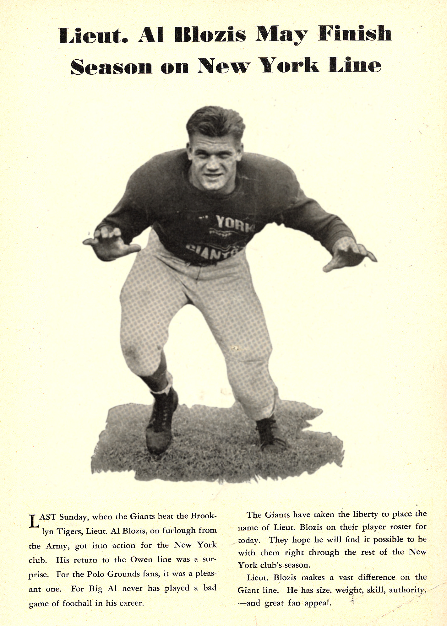 Al Blozis, New York Giants (December 3, 1944)