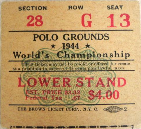 Green Bay Packers at New York Giants, 1944 NFL Championship Ticket Stub