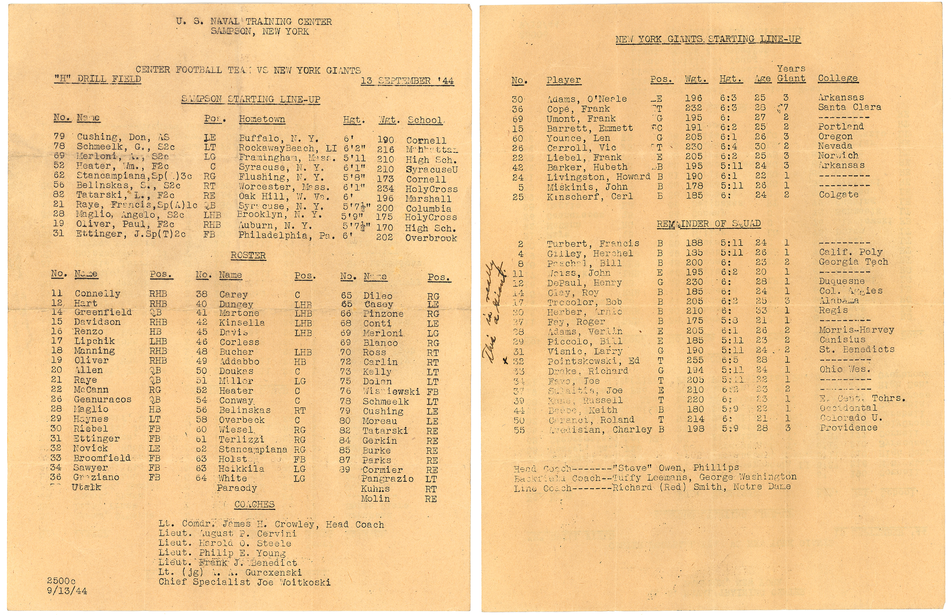 New York Giants Preseason Football Game Roster (September 13, 1944) - Courtesy of Rev. Mike Moran