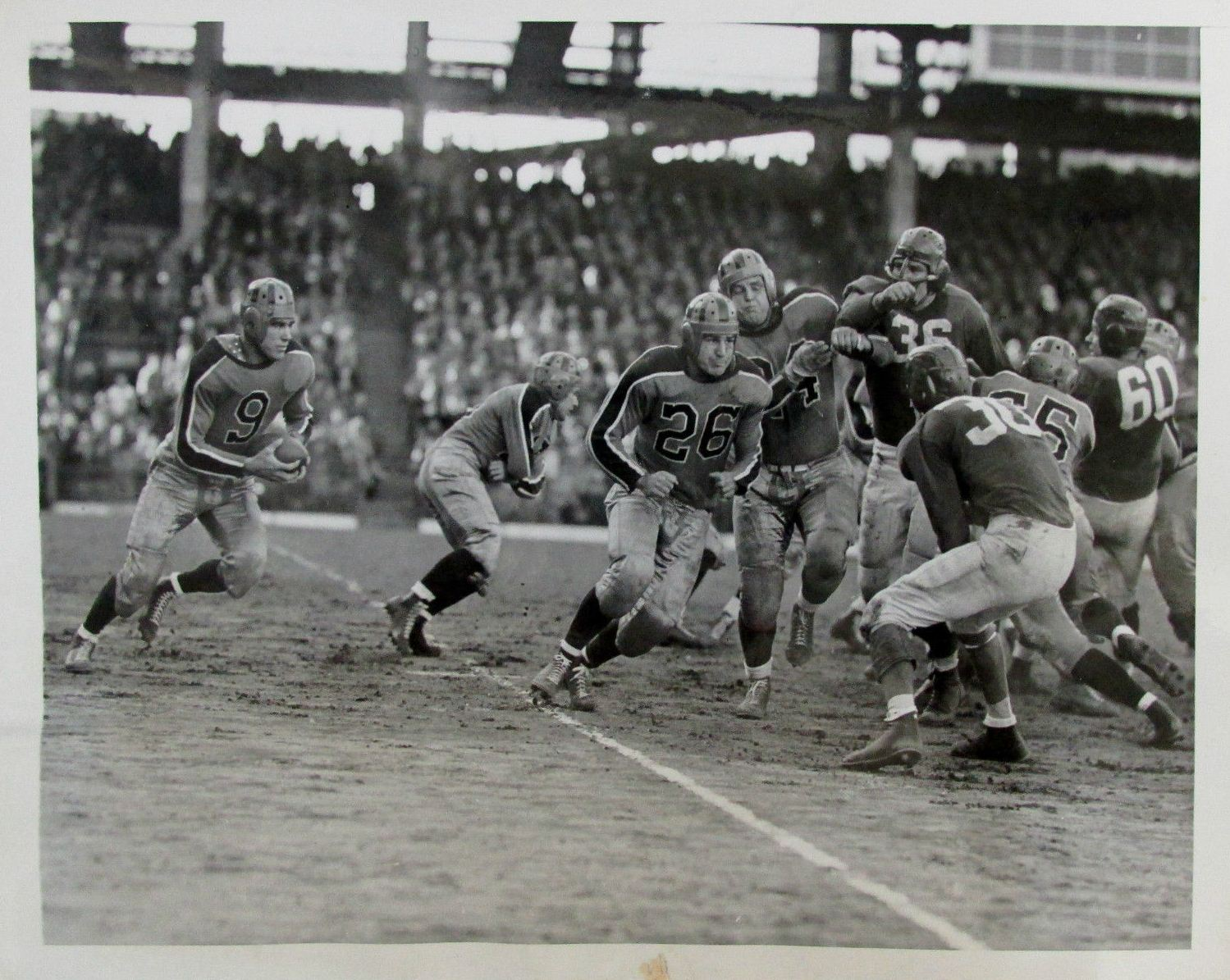 Frank Cope (36) and Len Younce (60), New York Giants at Brooklyn Tigers (October 15, 1944)