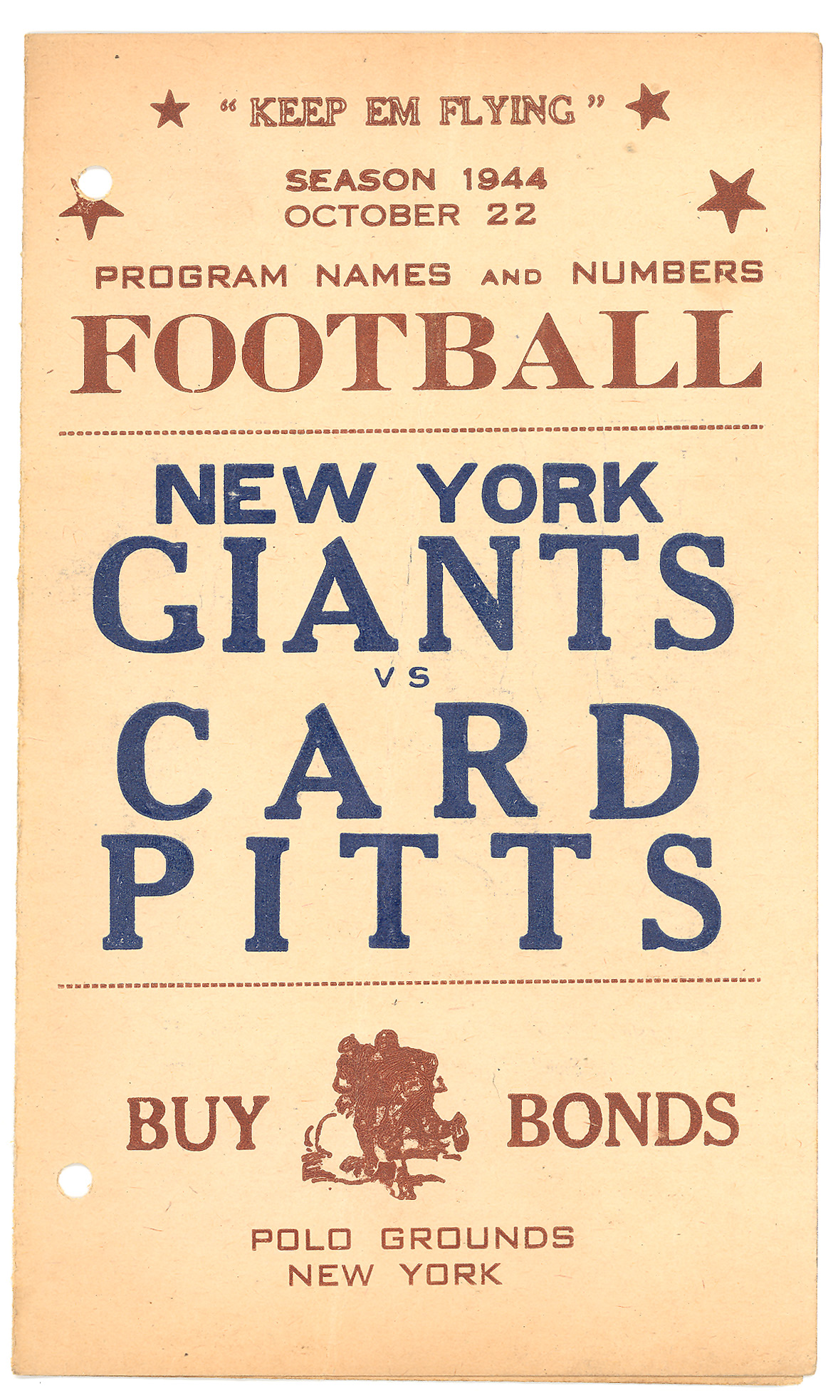New York Giants vs. Card Pitts (October 22, 1944) - Courtesy of Rev. Mike Moran