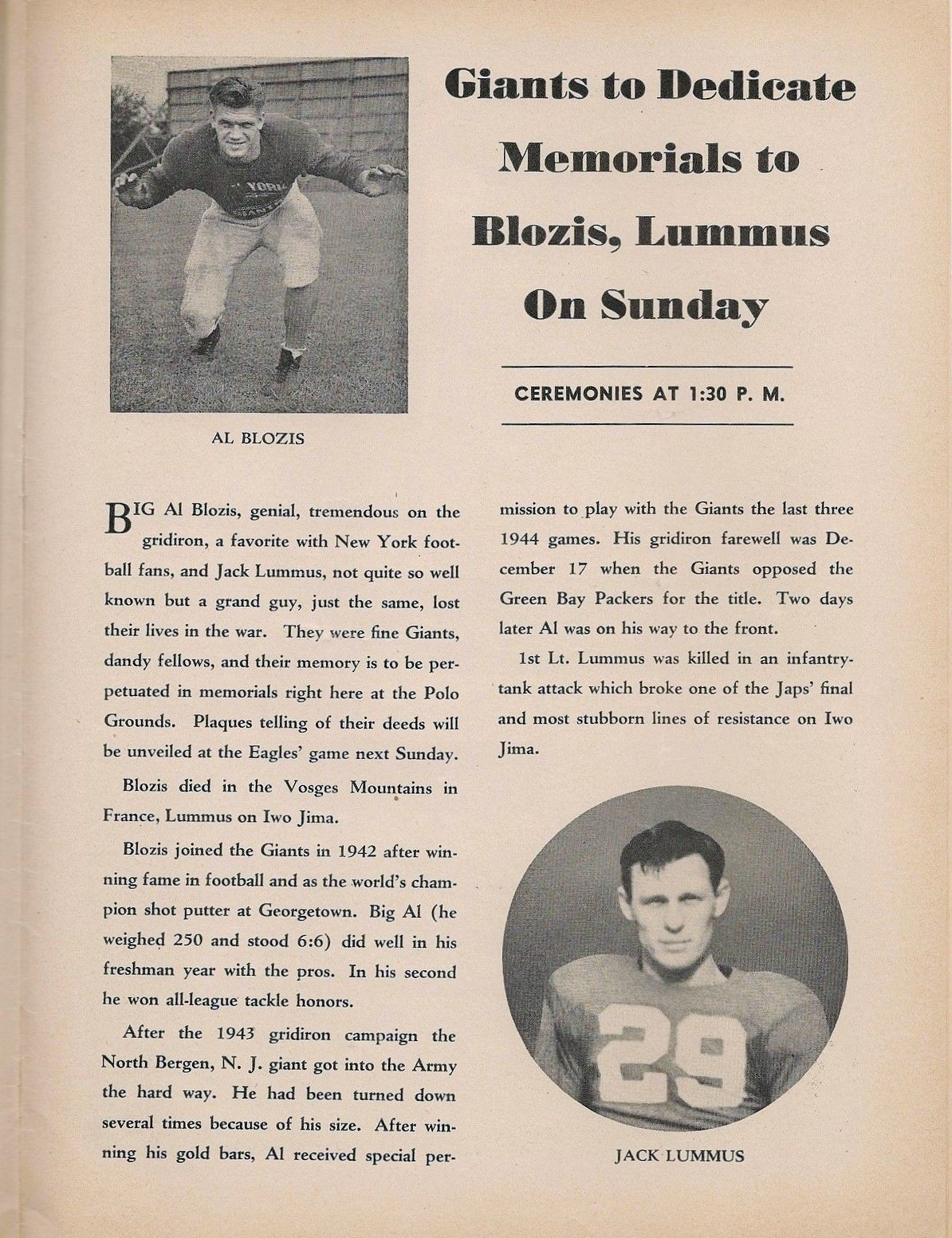 Al Blozis and Jack Lumus Memorials, New York Giants Game Program (November 25, 1945)