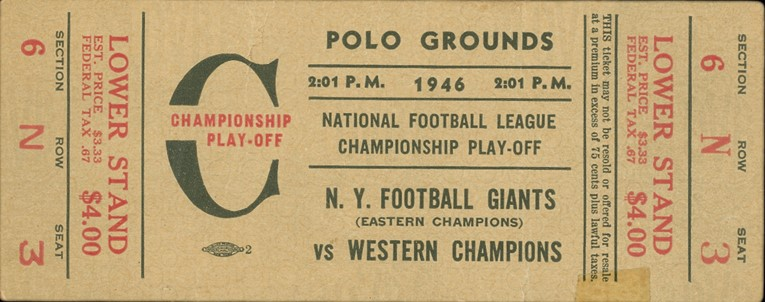 Chicago Bears at New York Giants 1946 NFL Championship Game Ticket