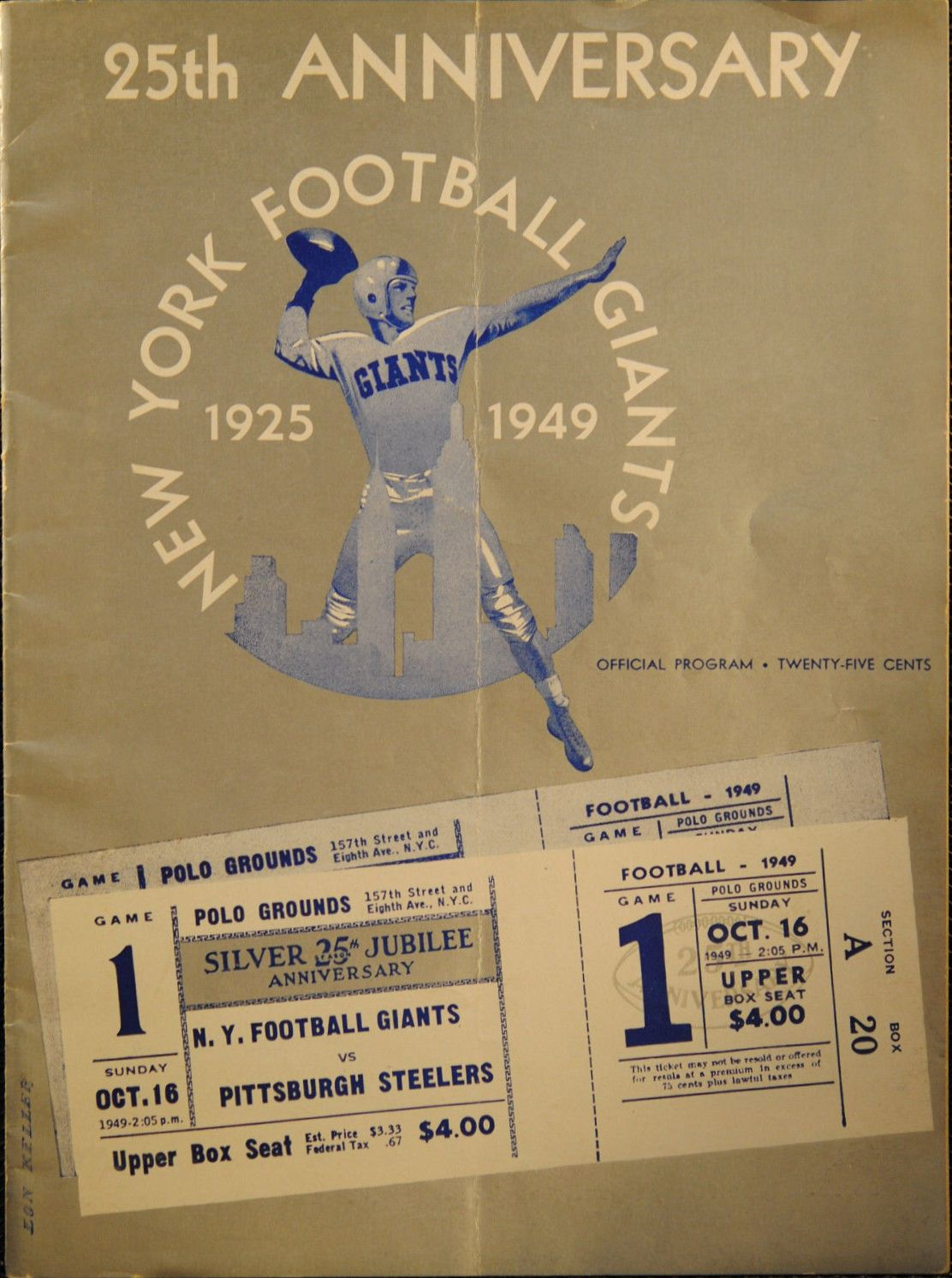 New York Giants Game Program (October 16, 1949)