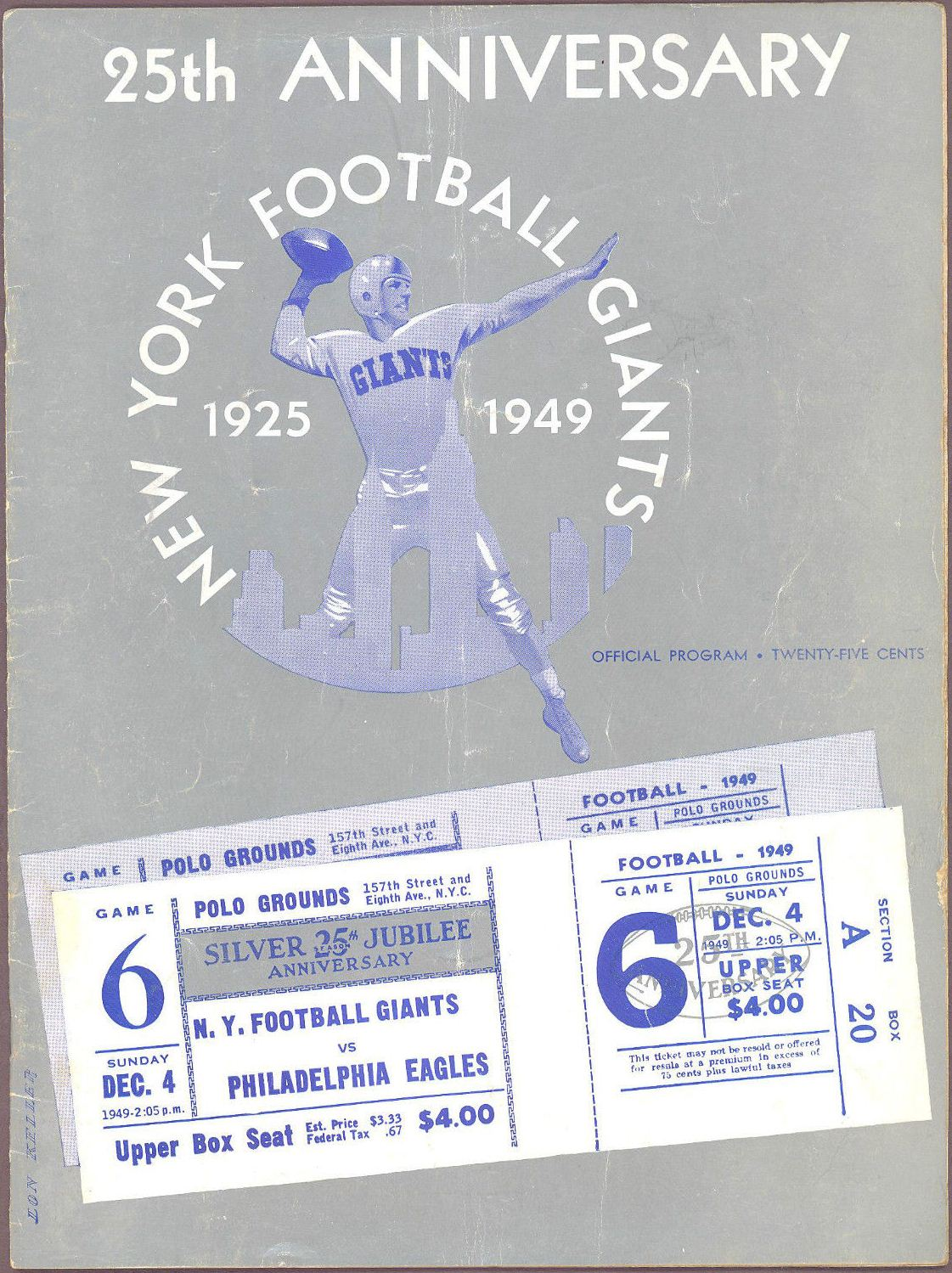 Philadelphia Eagles at New York Giants Game Program (December 4, 1949)