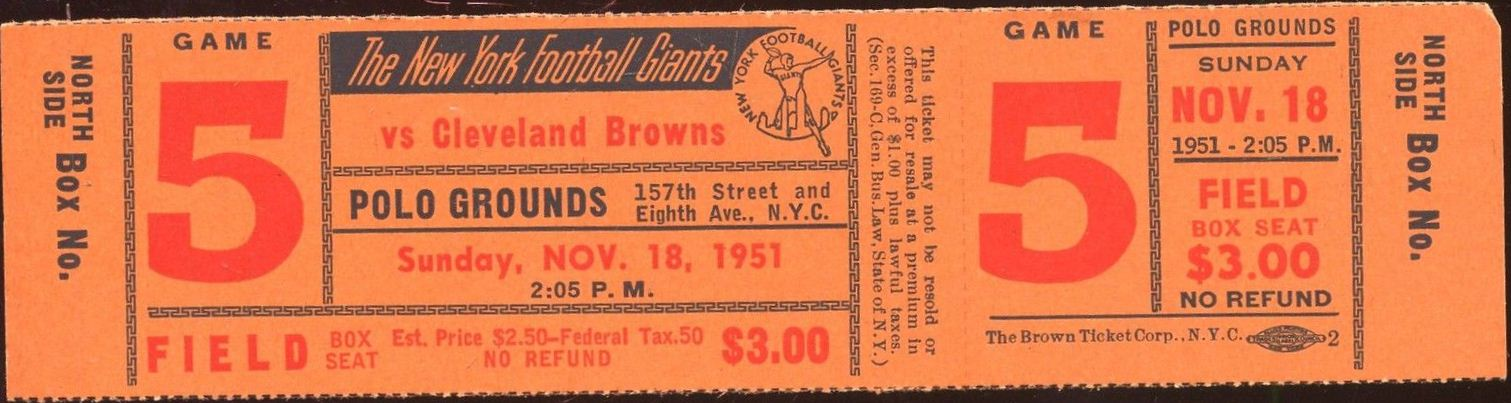 New York Giants Ticket (November 18, 1951)