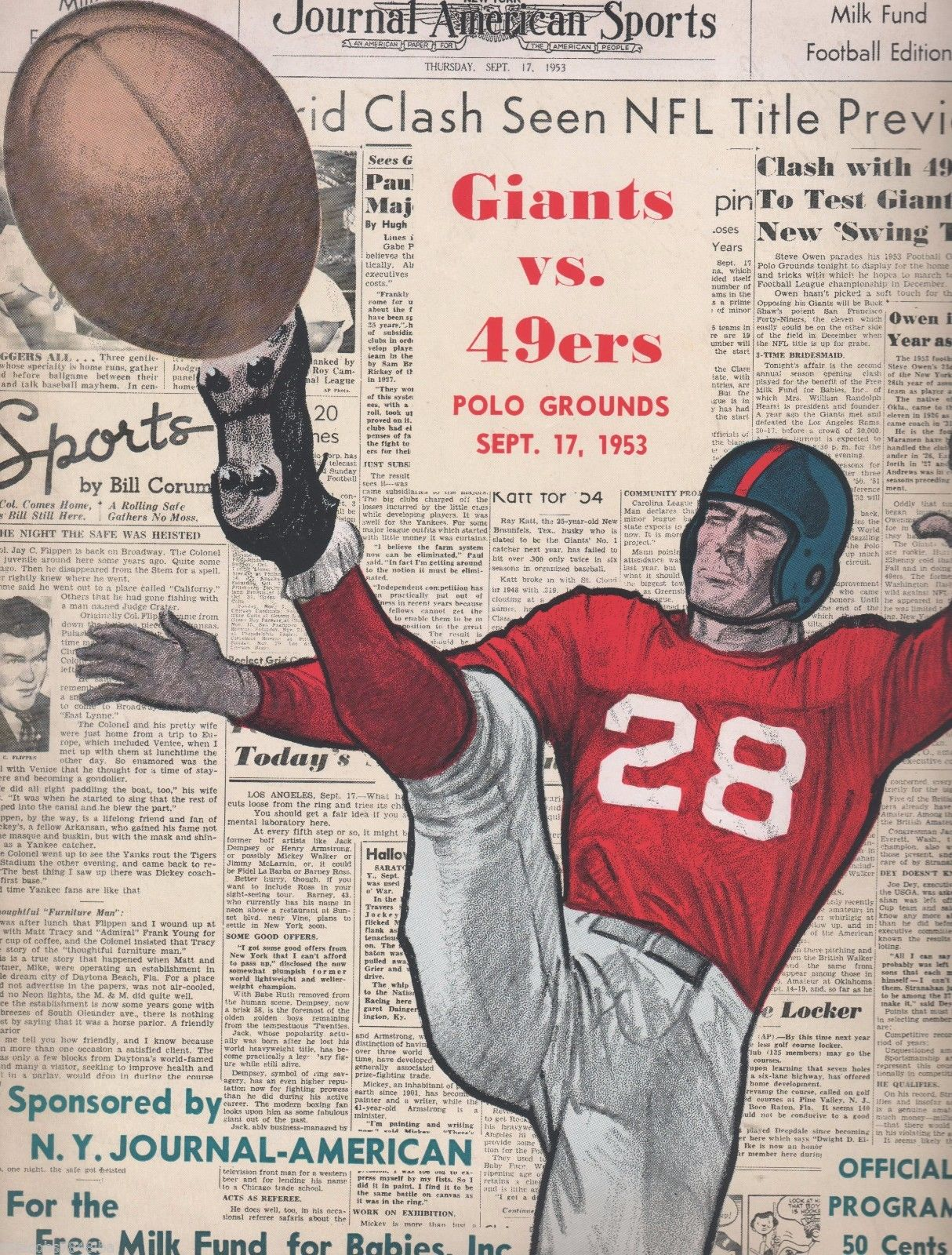 New York Giants - San Francisco 49ers Game Program (September 17, 1953)